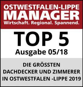 Siegel TOP 5 Dachdecker und Zimmerer in Ostwestfalen-Lippe 2019